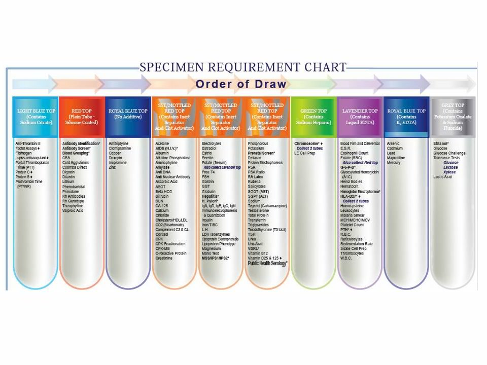order of draw tube color and additives chart pictures to